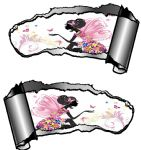 Small Pair Ripped Torn Metal Gash Design & Fairy Princess Butterflies Vinyl Car Sticker 93x50mm each
